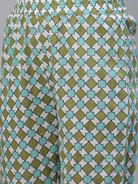 Yuris Women Sea Green & Navy Blue Printed Pure Cotton Kurta with Trousers & Dupatta 3