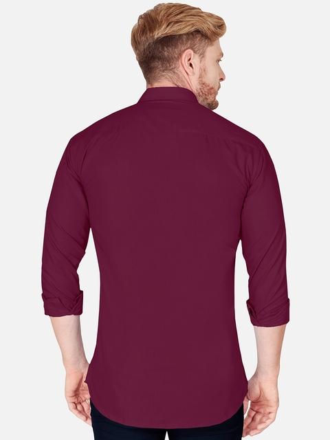 VeBNoR Men Maroon & Grey Slim Fit Casual Shirt 5