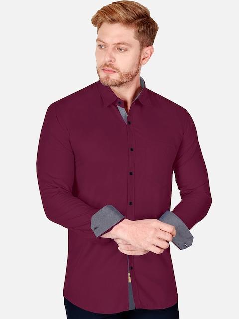 VeBNoR Men Maroon & Grey Slim Fit Casual Shirt 4