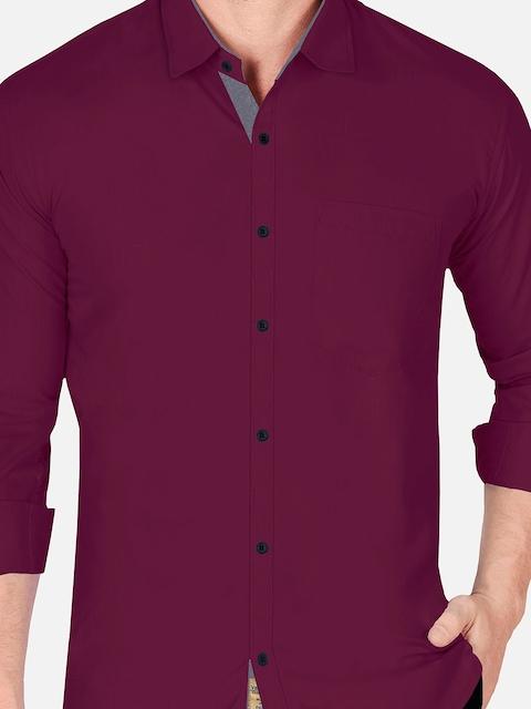 VeBNoR Men Maroon & Grey Slim Fit Casual Shirt 2