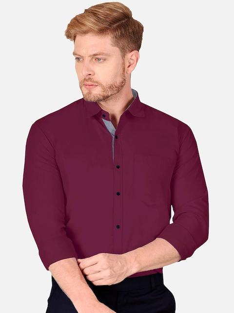 VeBNoR Men Maroon & Grey Slim Fit Casual Shirt 3