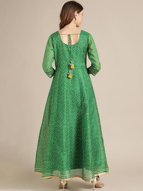 Varanga Women Green Ethnic Motifs Printed Flared Sleeves Anarkali Kurta 6