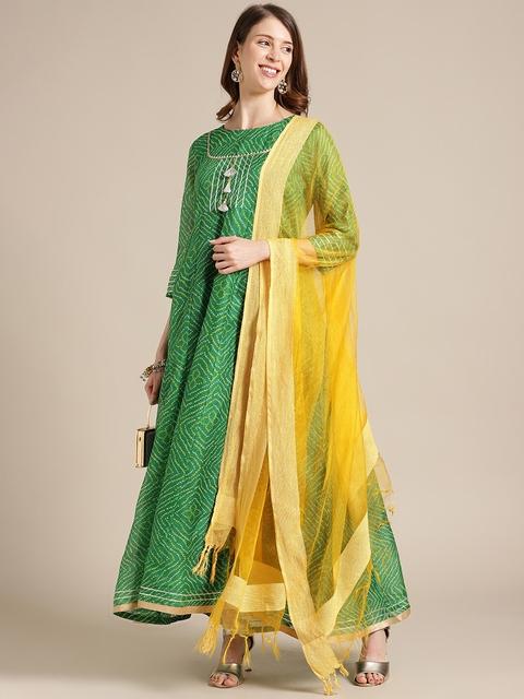 Varanga Women Green Ethnic Motifs Printed Flared Sleeves Anarkali Kurta 7