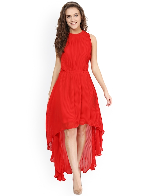 Red Coloured Solid Asymmetric Dress 1e34c9d8f