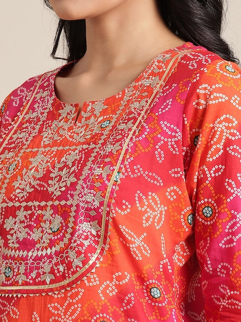 KSUT Women Pink & Orange Ethnic Motif Printed Gotta Patti Kurta 2