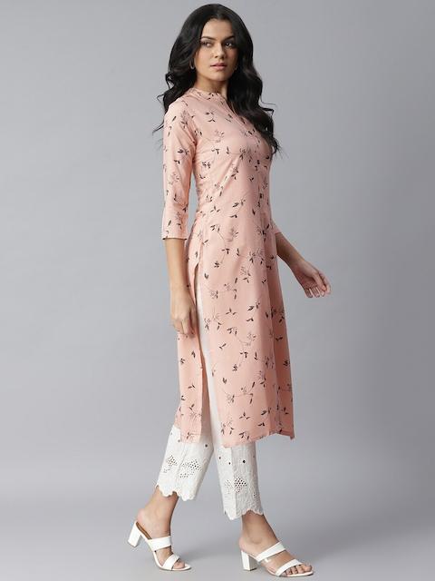 Stylum Women Peach-Coloured Pure Cotton Floral Printed Straight Kurta 3