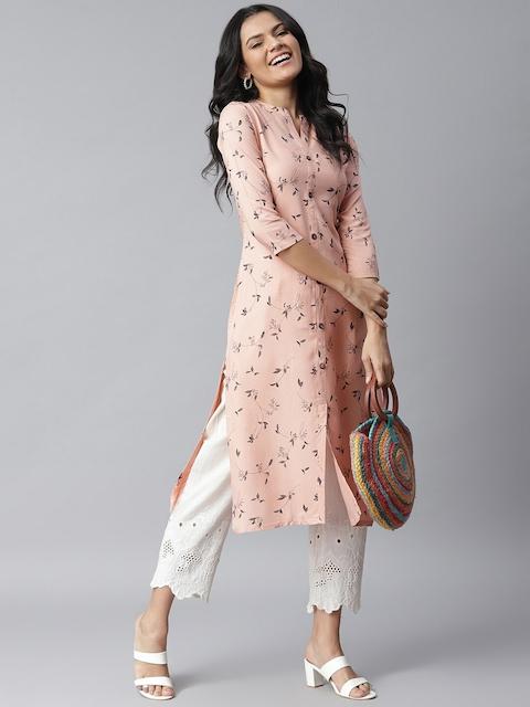 Stylum Women Peach-Coloured Pure Cotton Floral Printed Straight Kurta 6