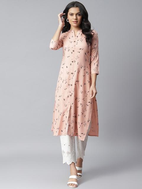 Stylum Women Peach-Coloured Pure Cotton Floral Printed Straight Kurta 1
