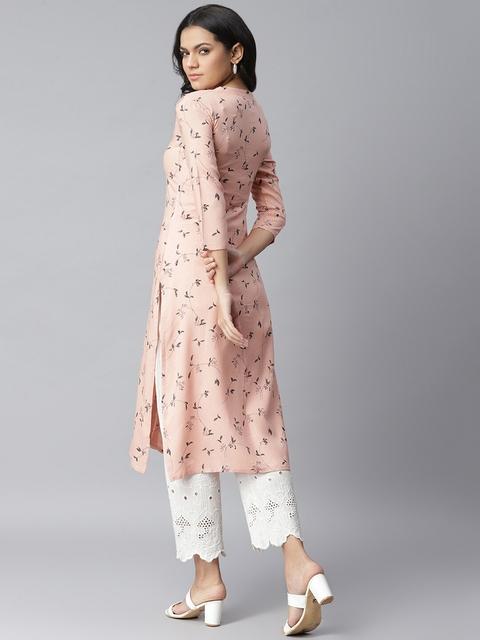 Stylum Women Peach-Coloured Pure Cotton Floral Printed Straight Kurta 5