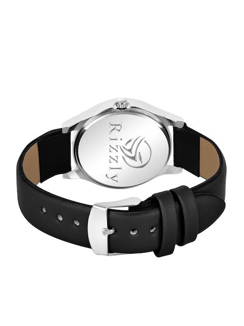 Rizzly Women Black Brass Dial & Black Leather Straps Analogue Watch 3