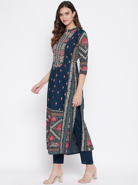 Prakhya Women Navy Blue Floral Printed Panelled Kurta with Trousers & With Dupatta 6