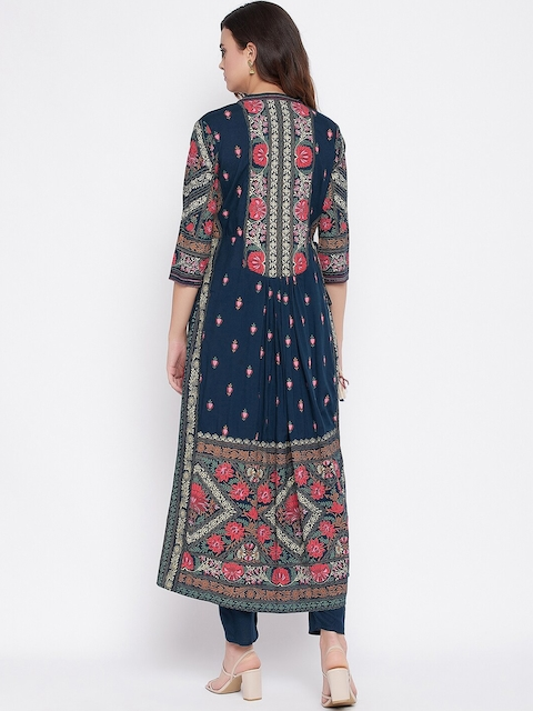Prakhya Women Navy Blue Floral Printed Panelled Kurta with Trousers & With Dupatta 5