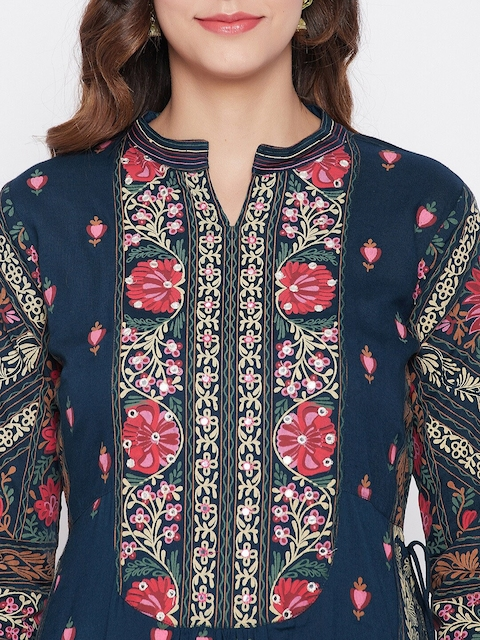 Prakhya Women Navy Blue Floral Printed Panelled Kurta with Trousers & With Dupatta 2