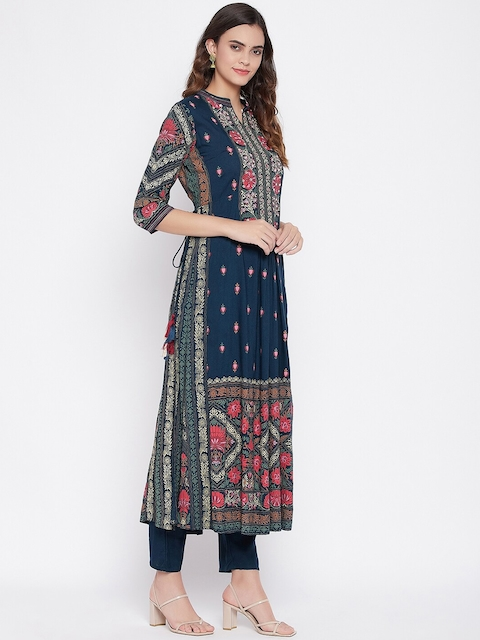 Prakhya Women Navy Blue Floral Printed Panelled Kurta with Trousers & With Dupatta 4