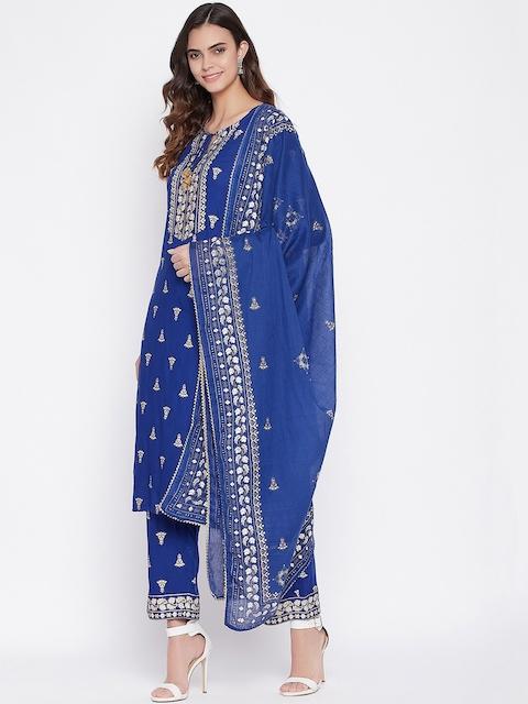 Prakhya Women Blue Ethnic Motifs Printed Layered Kurta with Palazzos & With Dupatta 7
