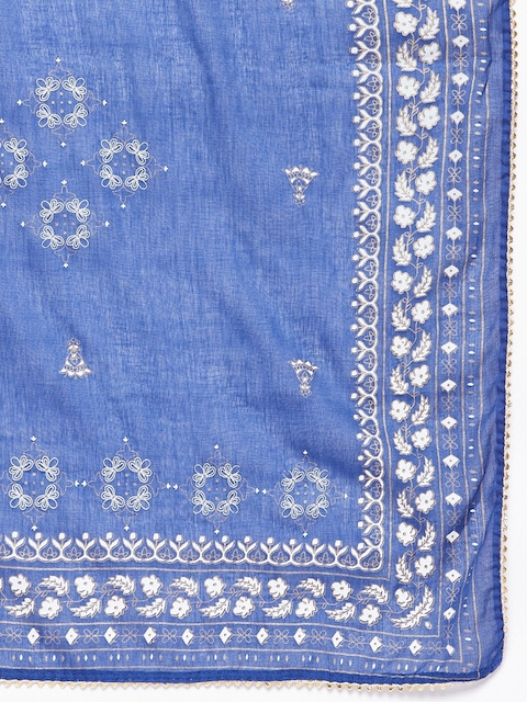 Prakhya Women Blue Ethnic Motifs Printed Layered Kurta with Palazzos & With Dupatta 4