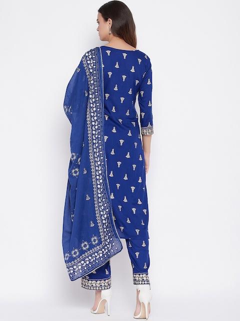 Prakhya Women Blue Ethnic Motifs Printed Layered Kurta with Palazzos & With Dupatta 6