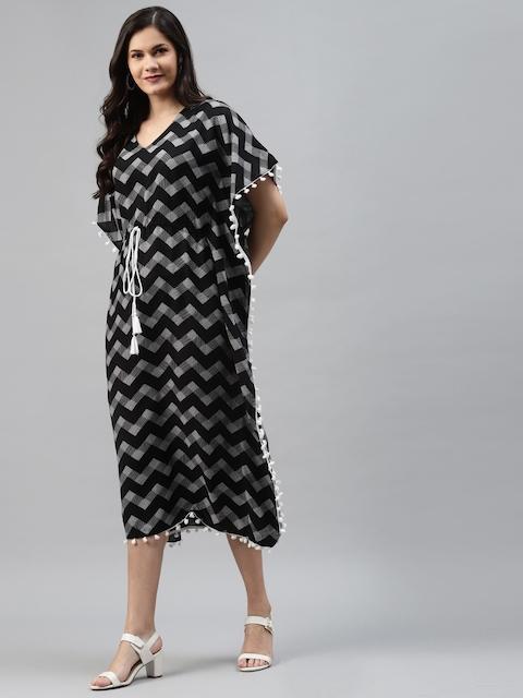 mokshi Black & White Chevron Printed Kaftan Midi Dress 3