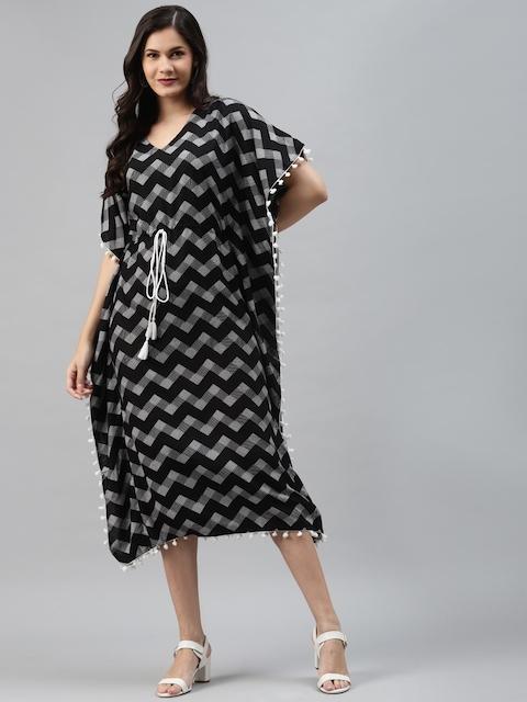 mokshi Black & White Chevron Printed Kaftan Midi Dress 1