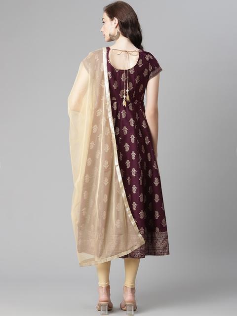 Poshak Hub Women Burgundy & Beige Printed Pure Cotton Kurta with Churidar & Dupatta 6