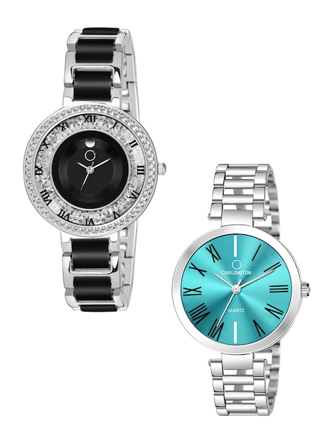 CARLINGTON Women Multicoloured Mother of Pearl Dial & Multicoloured Stainless Steel Bracelet Style Straps Watch 1