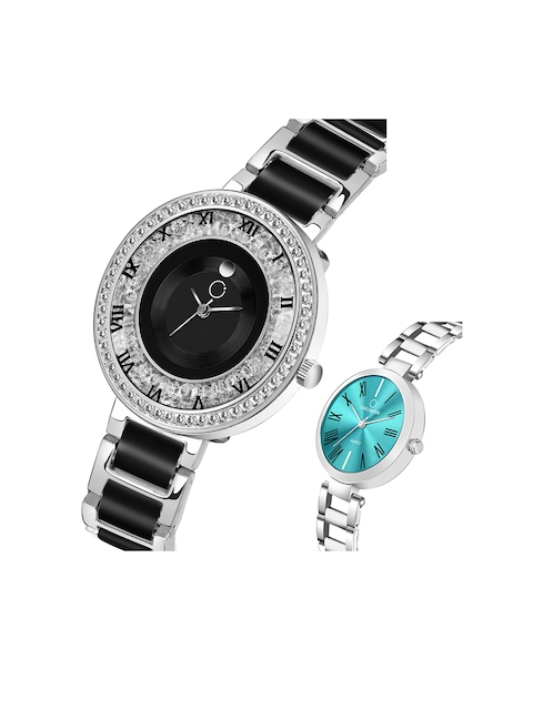 CARLINGTON Women Multicoloured Mother of Pearl Dial & Multicoloured Stainless Steel Bracelet Style Straps Watch 2