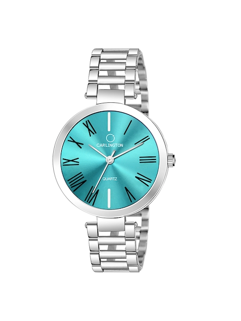 CARLINGTON Women Blue Dial & Silver Toned Stainless Steel Bracelet Style Straps Analogue Watch 1