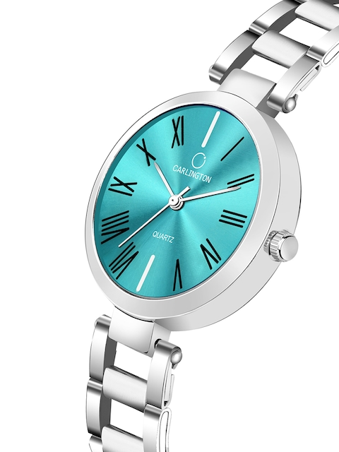 CARLINGTON Women Blue Dial & Silver Toned Stainless Steel Bracelet Style Straps Analogue Watch 2