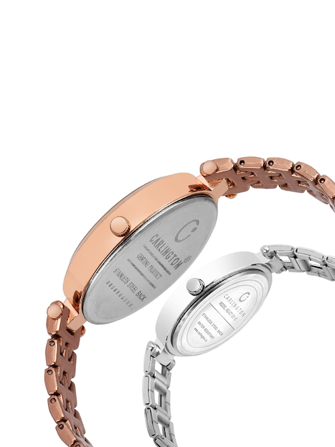 CARLINGTON Women Set of 2 Stainless Steel Bracelet Style Straps Watches 4