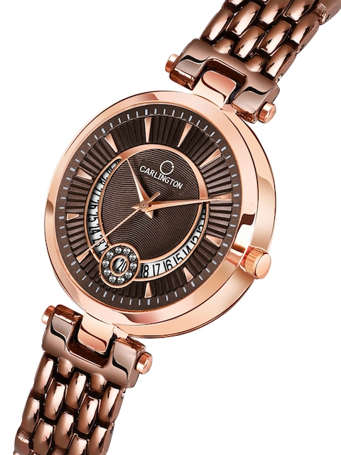 CARLINGTON Women Set of 2 Stainless Steel Bracelet Style Straps Watches 2