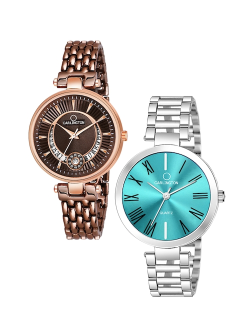 CARLINGTON Women Set of 2 Stainless Steel Bracelet Style Straps Watches 1