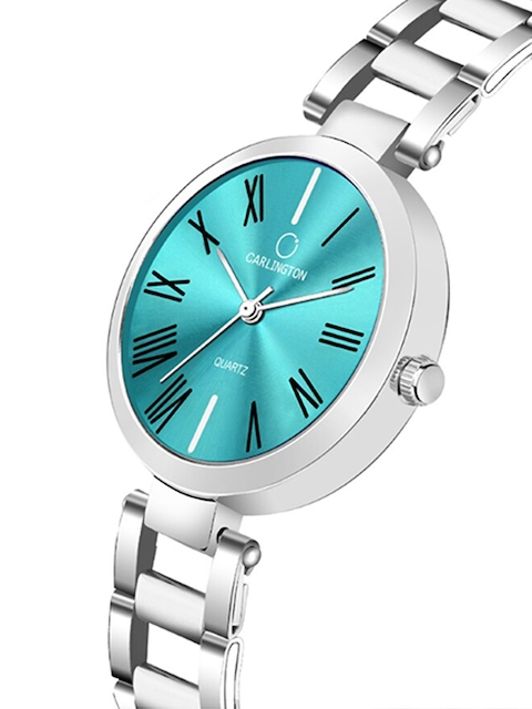 CARLINGTON Women Set of 2 Stainless Steel Bracelet Style Straps Watches 3