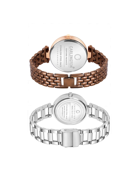 CARLINGTON Women Set of 2 Stainless Steel Bracelet Style Straps Watches 5
