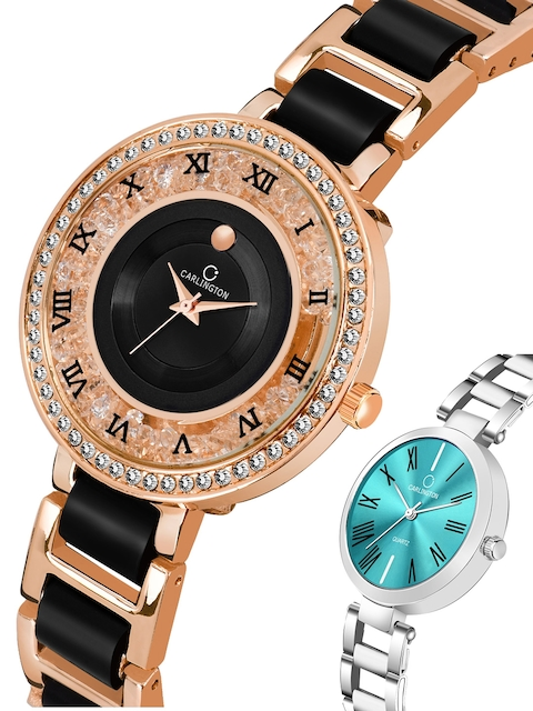 CARLINGTON Women Multicoloured Embellished Dial & Multicoloured Stainless Steel Bracelet Style Straps Watch 2