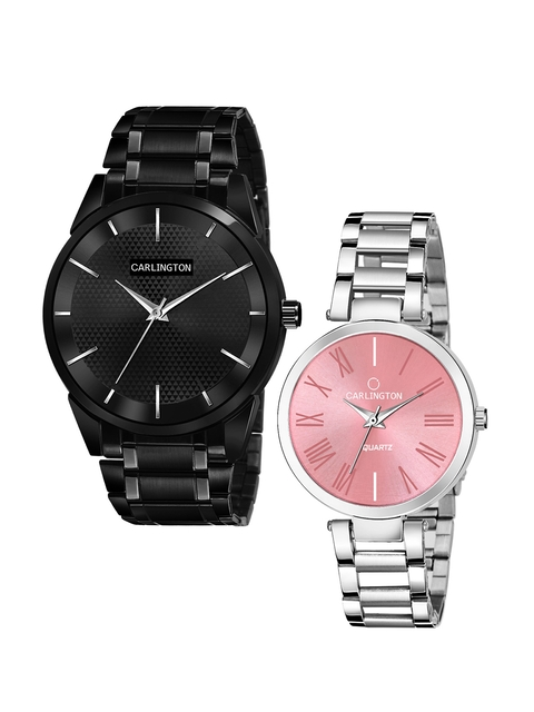 CARLINGTON Unisex Set of 2 Stainless Steel Straps Analogue Watches 1