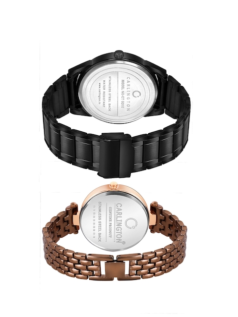CARLINGTON Unisex Set of 2 Stainless Steel Straps Analogue Watches 5