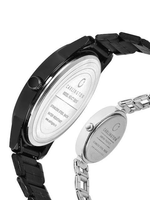 CARLINGTON Unisex Pack-2 Black& Silver Watch Combo CT-6110BB and 112 Silver Silver 3