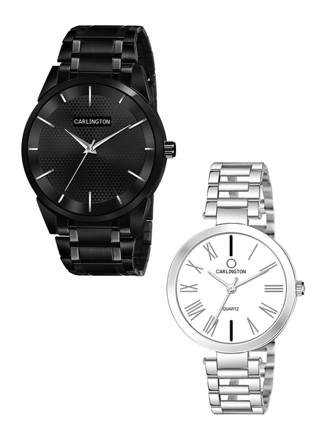 CARLINGTON Unisex Pack-2 Black& Silver Watch Combo CT-6110BB and 112 Silver Silver 1