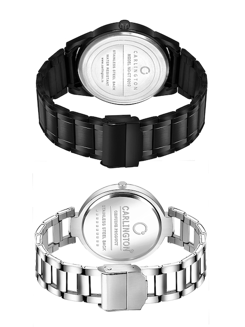 CARLINGTON Unisex Pack-2 Black& Silver Watch Combo CT-6110BB and 112 Silver Silver 4