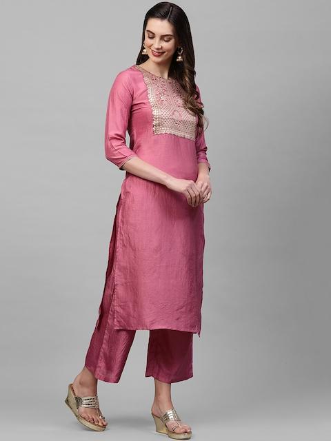 Indo Era Women Pink Ethnic Motifs Yoke Design Thread Work Kurta 4
