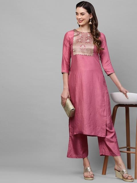 Indo Era Women Pink Ethnic Motifs Yoke Design Thread Work Kurta 6
