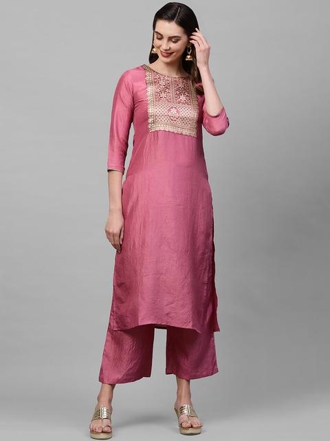 Indo Era Women Pink Ethnic Motifs Yoke Design Thread Work Kurta 1