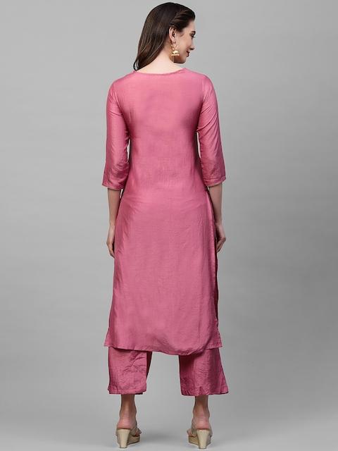 Indo Era Women Pink Ethnic Motifs Yoke Design Thread Work Kurta 5