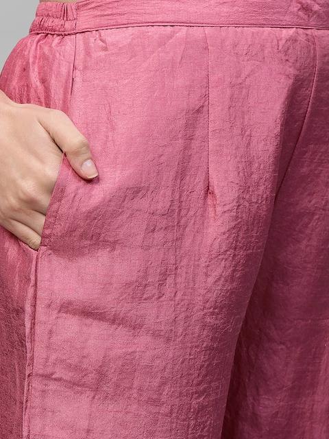 Indo Era Women Pink Ethnic Motifs Yoke Design Thread Work Kurta 3