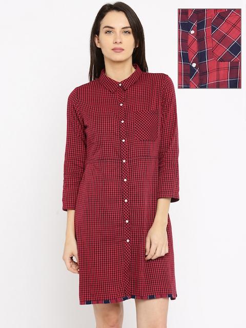 Roadster Women Red Reversible Checked Shirt Dress