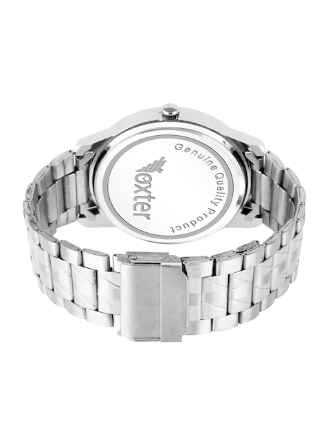 Foxter Men Silver-Toned Brass Dial & Silver Toned Bracelet Style Straps Analogue Watch 3
