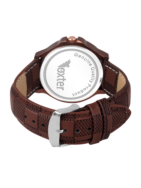 Foxter Men Brown Brass Embellished Dial & Brown Leather Straps Analogue Watch FX-480 3