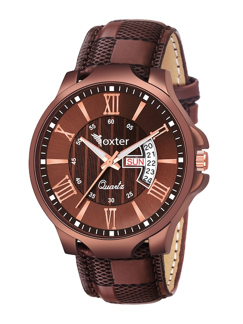 Foxter Men Brown Brass Embellished Dial & Brown Leather Straps Analogue Watch FX-480 1
