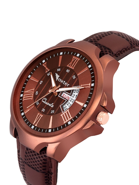Foxter Men Brown Brass Embellished Dial & Brown Leather Straps Analogue Watch FX-480 2
