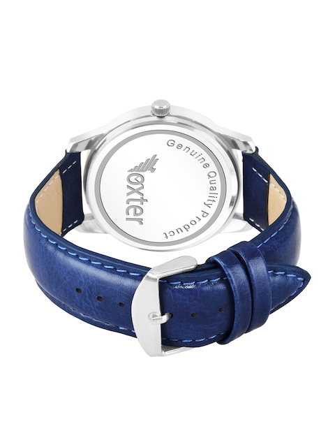 Foxter Men Blue Brass Dial & Blue Leather Straps Analogue Watch FX-435 3